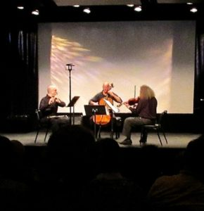 Michael Laderman, Arthur Cook, and Gregor Kitzis perform Peri Mauer's Thought's Torsion.