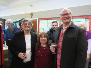 Conductor Patricia Glunt, composer Peri Mauer, and clarinetist Thomas Piercy enjoy the reception following the concert.